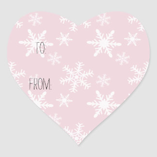 Pink White Snowflakes Gift Tag Heart Sticker