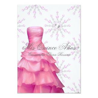 Pink White Snowflakes White Quinceanera 13 Cm X 18 Cm Invitation Card