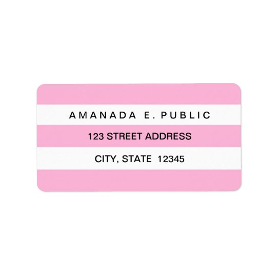 Pink White Solid Stripes Pattern Address Labels