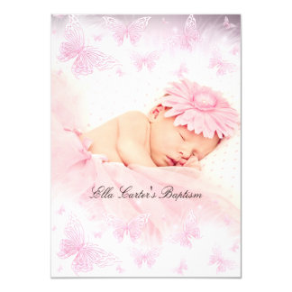 Pink & White Sparkle Butterfly Baptism Christening 11 Cm X 16 Cm Invitation Card