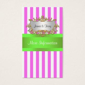 Pink White Stripe, Lime Green Ribbon Business Card