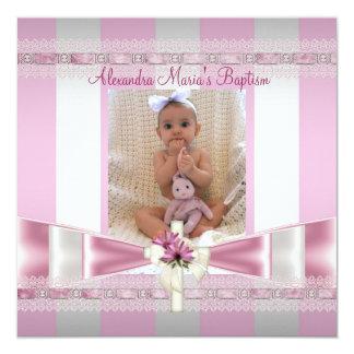 Pink White Stripe Photo Cross Baptism Christening Card