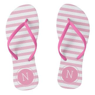 Pink & White Striped Monogrammed Flip flops