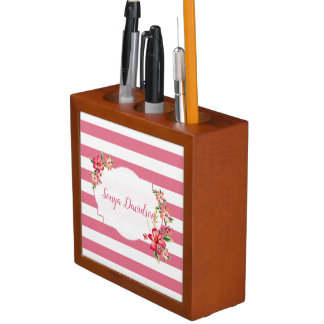 Pink White Stripes And Bouquet Desk Organiser