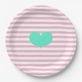 Pink & white stripes and teal heart - Paper Plates 9 Inch Paper Plate