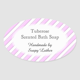 Pink White Stripes Custom Soap or Recipe Sticker