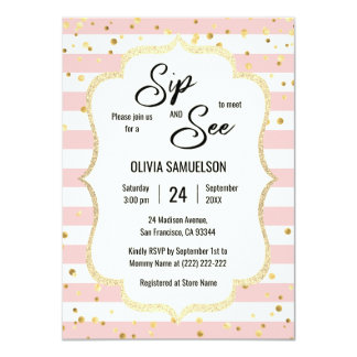 Pink White Stripes Gold Black BABY SIP and SEE Card