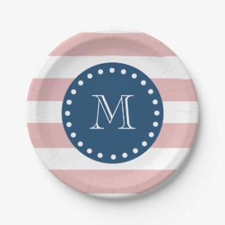 Pink White Stripes Pattern, Navy Blue Monogram 7 Inch Paper Plate