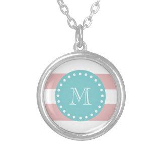 Pink White Stripes Pattern, Teal Monogram Necklace