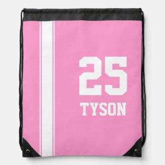 Pink & White Team Colors Monogram Drawstring Bag