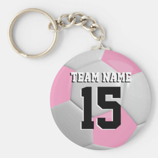 Pink & White Team Soccer Ball Basic Round Button Key Ring