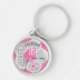 Pink & White Team Soccer Ball Key Ring