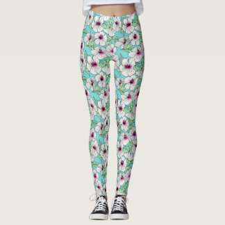 Pink & White Tropical Hibiscus Floral Pattern Leggings