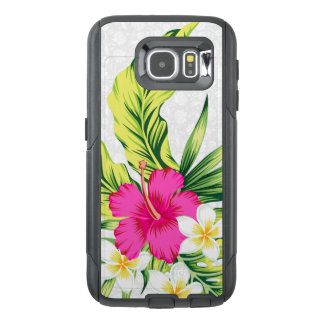 Pink & White Tropical Hibiscus Illustration OtterBox Samsung Galaxy S6 Case