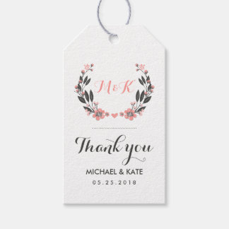 Pink White Vintage Flower Wreath Wedding Gift Tag