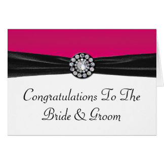 Pink & White With Black Velvet & Diamond Wedding Card