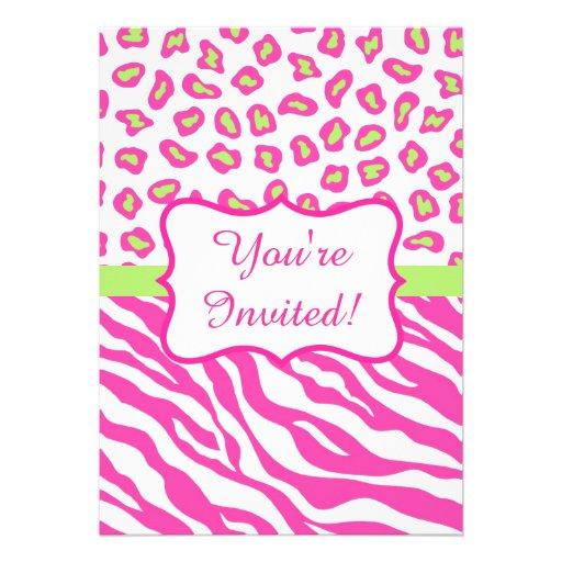 Pink White Zebra Leopard Skin Invitation