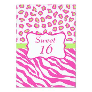 Pink White Zebra Leopard Skin Sweet 16 Invitation