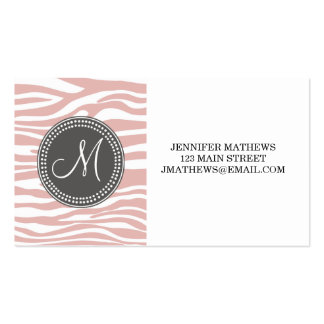 Pink & White Zebra Pattern Pack Of Standard Business Cards