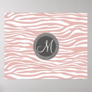 Pink White Zebra Pattern Poster