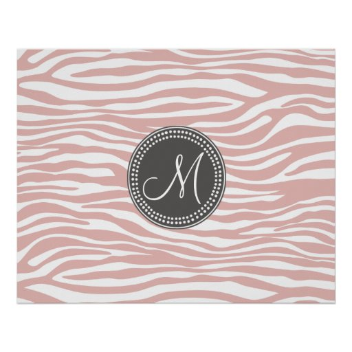 Pink & White Zebra Pattern Poster