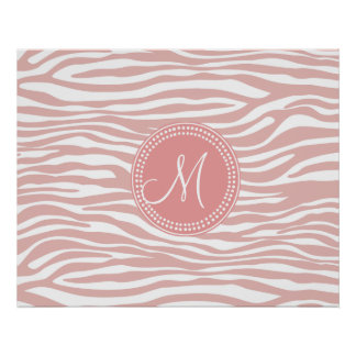Pink White Zebra Pattern Posters