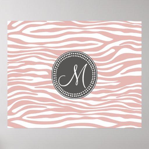 Pink & White Zebra Pattern Posters
