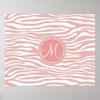 Pink White Zebra Pattern Print