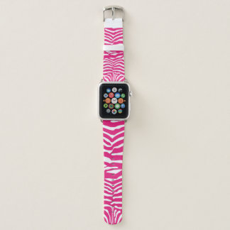 Pink White Zebra Striped Pattern Apple Watch Band