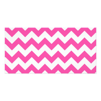 Pink White Zigzag Chevron Pattern Girly Personalized Photo Card