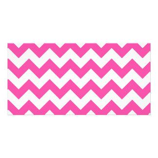 Pink White Zigzag Chevron Pattern Girly Personalized Photo Card