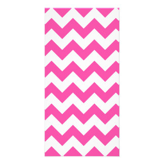 Pink White Zigzag Chevron Pattern Girly Photo Greeting Card