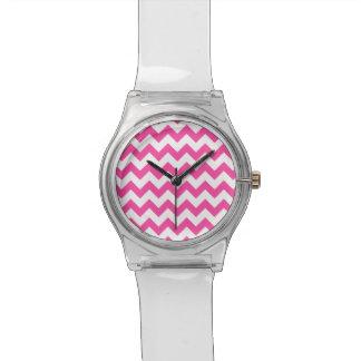 Pink White Zigzag Chevron Pattern Girly Wrist Watch