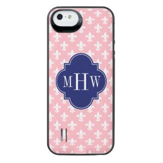 Pink Wht Fleur de Lis Navy 3 Initial Monogram iPhone SE/5/5s Battery Case