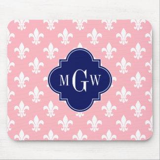 Pink Wht Fleur de Lis Navy 3 Initial Monogram Mouse Pads