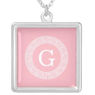 Pink Wht Greek Key Rnd Frame Initial Monogram Square Pendant Necklace