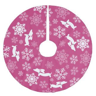 Pink Wiener Dog Christmas Tree Skirt Holiday