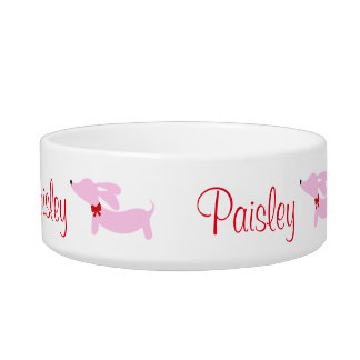Pink Wiener Dog Personalized Dog Food Water Bowl