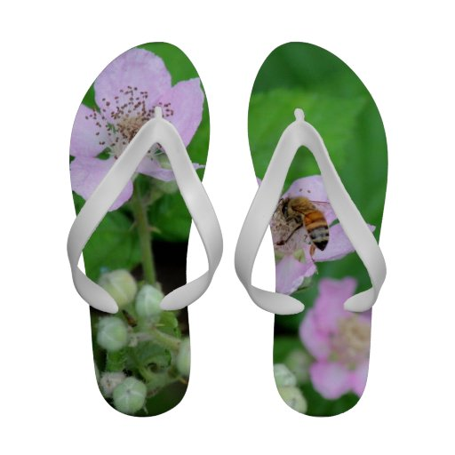 Pink Wild Flower Honey Bee Flip Flops