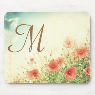 Pink Wild Flowers Monogram Initial Mouse Pad