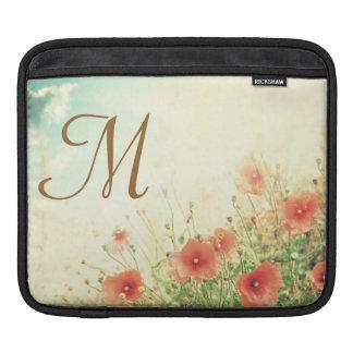 Pink Wild Flowers Monogram IPAD Laptop Bag Sleeve For iPads