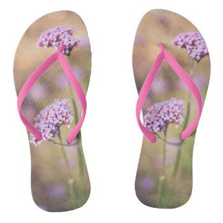 Pink wild flowers thongs