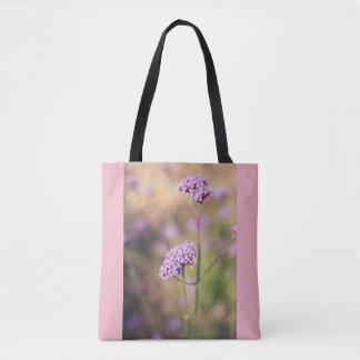 Pink wild flowers tote bag