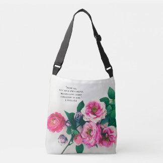 Pink Wild Rose Flower Bouquet Love Bible Verse Crossbody Bag