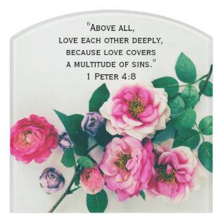 Pink Wild Rose Flower Bouquet Love Bible Verse Door Sign
