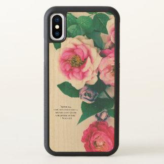 Pink Wild Rose Flower Bouquet Love Bible Verse iPhone X Case