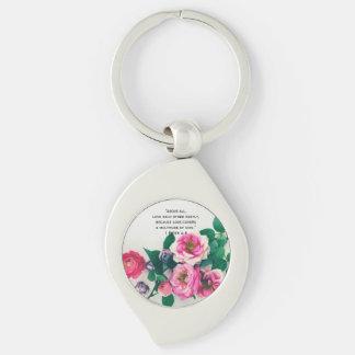 Pink Wild Rose Flower Bouquet Love Bible Verse Key Ring