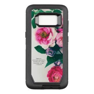 Pink Wild Rose Flower Bouquet Love Bible Verse OtterBox Defender Samsung Galaxy S8 Case