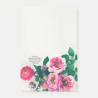 Pink Wild Rose Flower Bouquet Love Bible Verse Post-it Notes