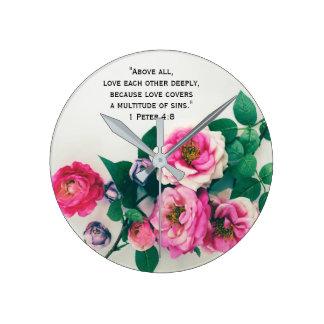 Pink Wild Rose Flower Bouquet Love Bible Verse Round Clock